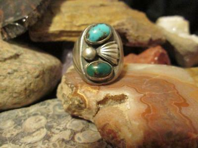 Vintage Navajo Old Pawn Sterling Silver Turquoise Gents Mens Ring 10.5