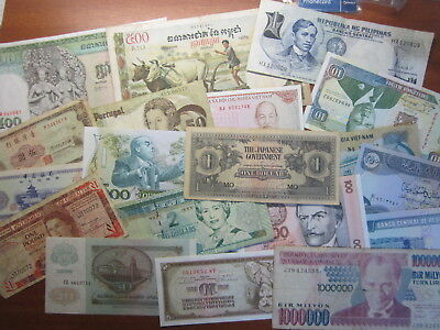Bulk Lot Of  Mixed World bank Notes Total 20 Almost Uncirculated To Circulated