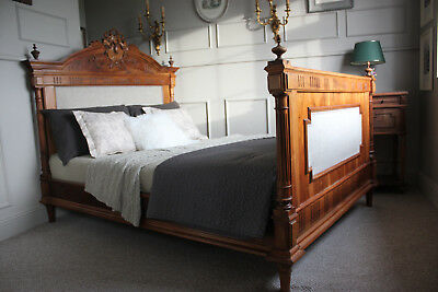 French antique Henry II solid walnut double bed