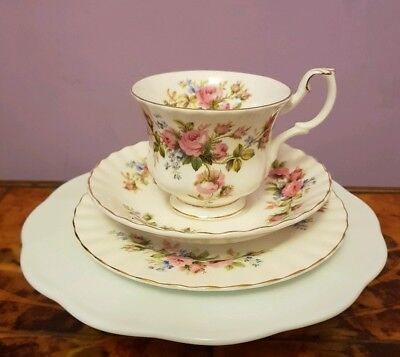 Royal Albert Moss Rose Cup Saucer & Plate Trio First Quality