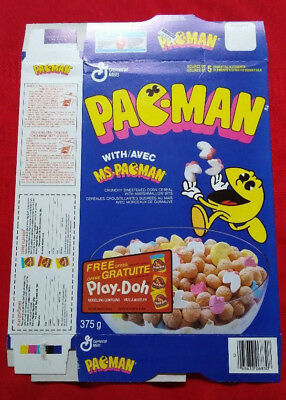 ☆ Pac-Man Cereal Box with Ms-Pac-man CLEAN 1992 video game PacMan character box