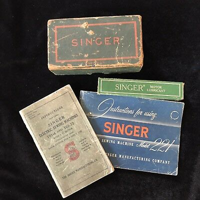 Vintage Lot of Singer Sewing Machine Materials Motor Lubricant Manuals Parts