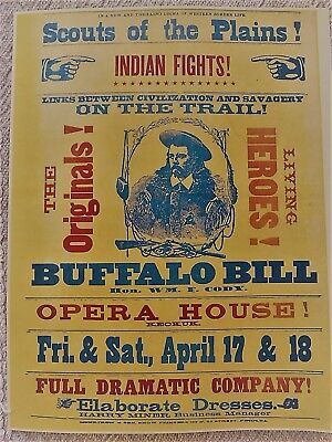 "24x32 1890s Buffalo Bill Cody /""Chief of Scouts/"" Vintage Style Western Poster"