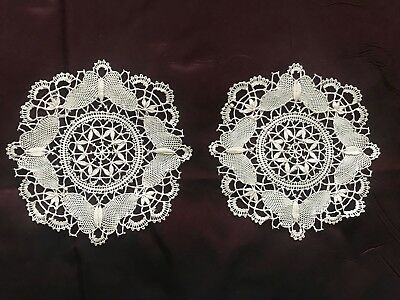 lot of 2 French ANTIQUE HANDMADE BOBBIN LACE DOILIES diameter 6""