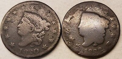 1820 & 1822 Coronet Liberty Head Large Cents *2 coins* low grade & repaired