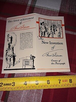 1920's Thomas Edison The New Edison Invention Phonograph Brochure