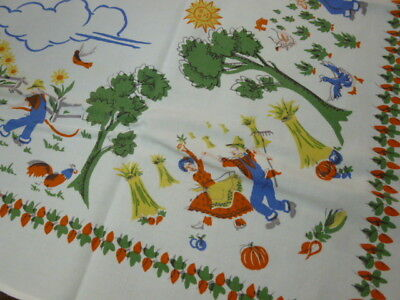 Vintage Printed Cotton Tablecloth Farmers Chicken Skinny Dipping 60 x 49""