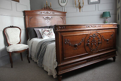 French antique walnut Louis XVI upholstery bed