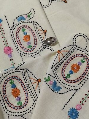Vintage Hand Embroidered Lace Tablecloth ~ Teapot Florals Pockets