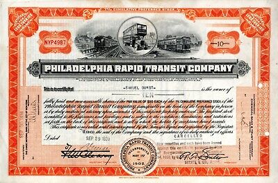 The Philadelphia Rapid Transit Company ( busses) and 1939 Stock Certificate
