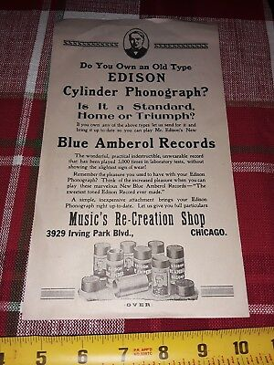 1920 Edison Chicago Phonograph Record & Cylinder Dealer Brochure Rare