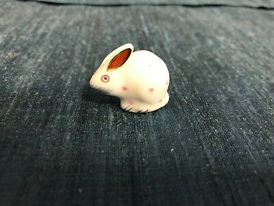 "SUPER VINTAGE 1 1/8"" Herend Hungary Porcelain PINK DOT MINI RABBIT Figurine MINT"
