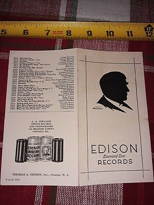 1920 Edison Phonograph Diamond Disc & Cylinder Record Brochure