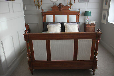 French antique Henry II walnut new upholstery bed