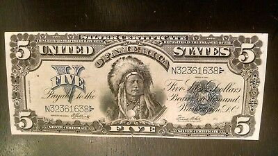 """1899 $5 """"INDIAN CHIEF"""" Silver Certificate! Very Crisp, Small Hole In Seal Area"""