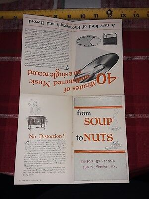 "1920 The New Edison ""From Soup to Nuts"" Phonograph Brochure"
