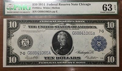 PMG 63 1914 $10 Federal Reserve Note EPQ Crisp White Uncirculated Beautiful Bill