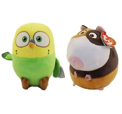 """Set of 2 Ty 6"""" NORMAN Guinea Pig & SWEETPEA Canary The Secret Life of Pets Plush"""