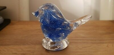 Tweedsmuir Glass Bird - Blue and Clear ornament or Paperweight