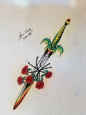 vintage '85 original signed kevie biker dragon tattoo viking sword rose 7x11