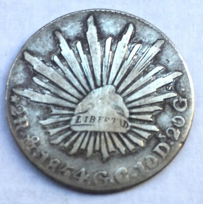 Mexico SILVER 2 Reales 1854 over 44