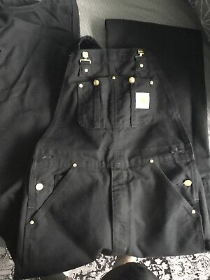 MENS 32 X 34 Carhartt R01 Unlined Duck Double Front Overall Bib  Black