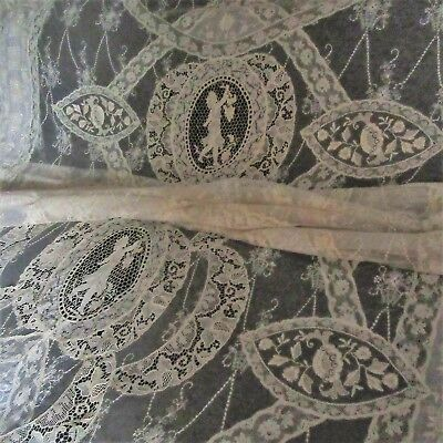 ANTIQUE fine net FRENCH LACE BEDSPREAD EMBROIDERY & FIGURALS Ruffled flounce