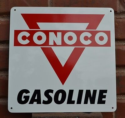 CONOCO Metal Gas Station Pump Sign Red Triangle Advertising Mechanic Garage