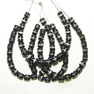 20 old bohemian/czech faux banded agate glass beads african trade #140b