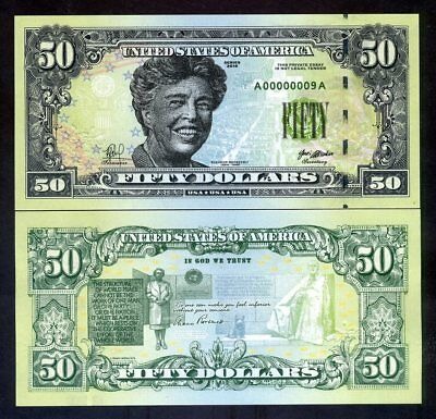 USA, $50, 2018, private Issue, essay design, Eleanor Roosevelt, United Nations