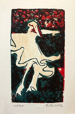 Will Petersen (1928-1994) original color stone print 1970 Ghost woman