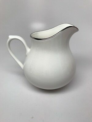 "TOWLE ""CLASSIQUE PLATINUM"" BONE CHINA PITCHER / CREAMER - WHITE w/ PLATINUM TRIM"