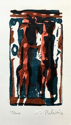 Will Petersen (1928-1994) original color stone print 1970 Guests from Africa