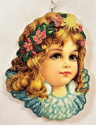 BEAUTIFUL ANGEL w/ BLUE WINGS, FLOWERS in HAIR * Glitter NEW YEAR ORNAMENT * Vtg
