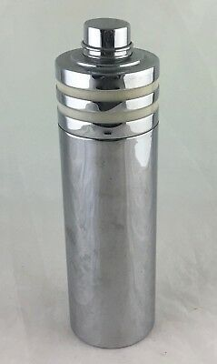 Vintage Cocktail Shaker Party Drink Mixer Chrome Or Stainless Steel Enamel