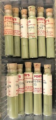 Vintage Porters Powder Porcelain China Paint Lot Of 12 Glass Vials GOLDEN GREEN