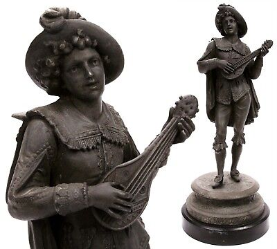 Antique 19th Century European Spelter Sculpture Medieval Troubadour Musician Old