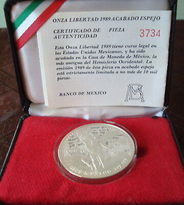 Mexico Oz silver proof beautiful coin1989