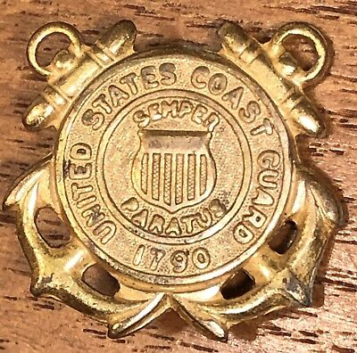 Vintage United States Coast Guard Semper Paratus Double Anchors Lapel Hat Pin