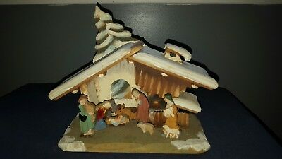 "Beautiful Vintage Anri Carved Wood Nativity set and Creche! 7"" X 8"" X 4"""