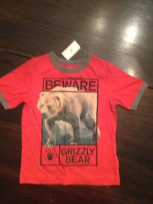 Baby Gap size 4 years grizzly bear t-shirt red new with tags