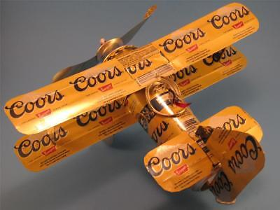 Coors (Banquet) Beer Can Airplane-Unique-Handmade-Wind Spinner-Can Plane-Can Art