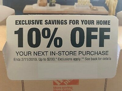 ONE Home Depot 10% Off-1coupon- max saving 200$- In Store Only
