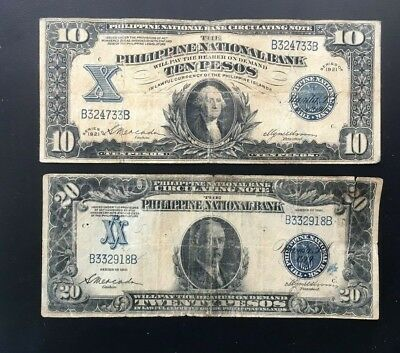 1921 US Philippines 10 & 20 Pesos notes P54 & P55 In USA 3notes = free S/H