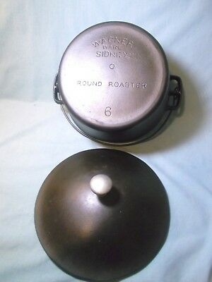 RARE WAGNER WARE CAST IRON # 6 ROUND ROASTER WITH LID & BAIL-cleaned & seasoned