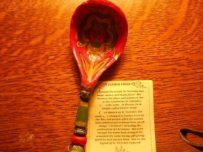 """HOUSE of HATTEN- """"FATHER FROST SPOON"""" - ORIGINAL TAGS- HAND PAINTED-6 1/2' LONG"""