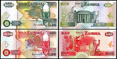 ZAMBIA (1992) Set of 2 UNC Banknotes