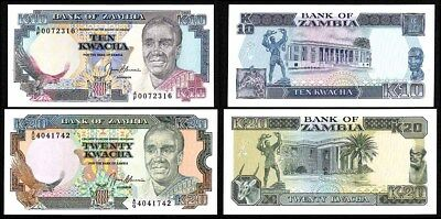 ZAMBIA (1989-93) Set of 2 UNC Banknotes
