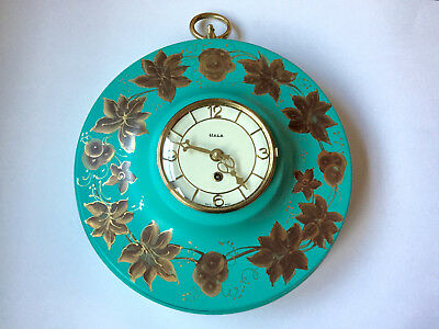 Mid Century Modern HECO German VTG Retro 8 Day Metal Wall Clock Turquoise Works