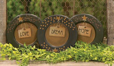 Country Primitive Love Dream Hope Plates Set of 3